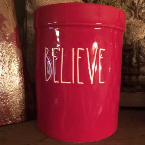 """Rae Dunn Christmas red """"Believe"""" utensil holder"""
